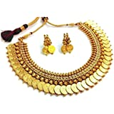 YouBella Pearl Traditional Temple coin Necklace Set / Jewellery Set with Earrings for Women