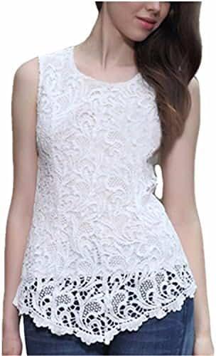 ZANZEA Women Chiffon Sexy Lace Sleeveless Round Neck Elegant Tank Tops Blouses T-shirt