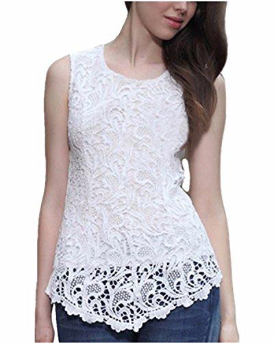 Zanzea Women Lace Blouse Chiffon Tank (White) - 1