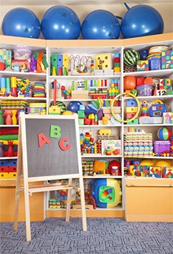 CSFOTO 5x7ft Background for School Desk Preschool Inside Photography Backdrop Children Game Room Playroom Baby Block Childish Colorful Toy Shelf Market Child Photo Studio Props Polyester Wallpaper]()