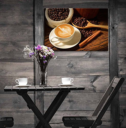 a Cup of Cafe Latte and Coffee Beans Wall Decor