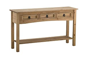 Birlea Furniture Corona Table Console 3 tiroirs et 1 étagère en pin