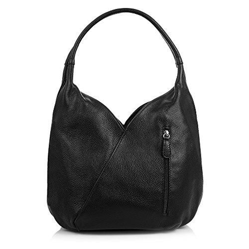 FIRENZE ARTEGIANI.Bolso shopping bag de mujer piel auténtica.Bolso hombro mujer cuero genuino. Bolso de piel acabado SAVAGE. MADE IN ITALY. VERA PELLE ITALIANA. 36x23x17 cm. Color: CUERO Negro