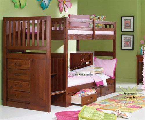 Stair Step Bunk Bed with 3-Drawer Bunk Pedestal ()