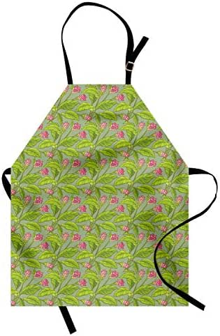 Ambesonne Botanical Apron, Floral Pattern Cartoonish Turmeric Flower Blossom, Unisex Kitchen Bib Apron with Adjustable Neck for Cooking Baking Gardening, Pistachio Green Apple Green Pink