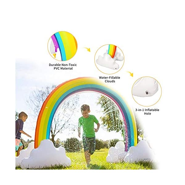 """Inflatable Rainbow Yard Summer Sprinkler Toy, Over 6"""" Long Outdoor Lawn Rainbow Arch Water Spray Toy for Kid Child Adult Games 6"""