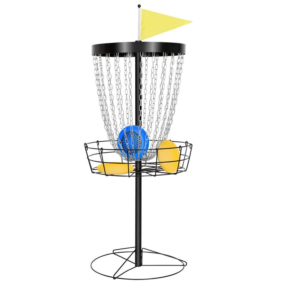 Topeakmart Portable 24-Chain Disc Golf Basket Target Accessories, Steel Disc Golf Goals Black by Topeakmart