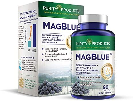 MagBlue - Purity Products - High Efficiency Magnesium Bisglycinate Buffered + Vitamin D + Boron + Zinc + PurityBlue Antioxidant Rich Wild Organic Blueberries - Talc Free - Easy to Swallow - 90 Tablets