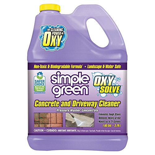 SIMPLE GREEN Oxy Solve Concrete and Driveway Pressure Washer Cleaner - Removes Stains from Mold, Mildew and Oil on Garage Floors, Sidewalks, Walkways & Driveways - Concentrate 1 Gal. (Best Concrete Cleaner Oil Stains)