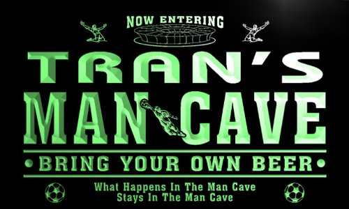qd1476-g TRAN's Man Cave Soccer Football Bar Neon Beer Sign by AdvPro Name