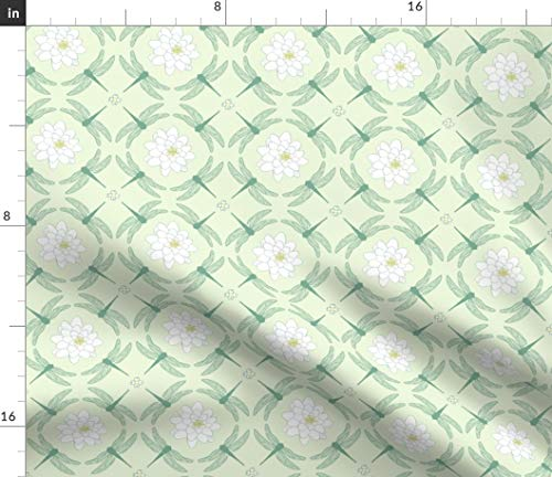 (Lilly Fabric - Lily Pad Pond Insect Nature Baby Nursery Lilly Dragonfly Nursery Pastel Woodland Print on Fabric by The Yard - Sport Lycra for Swimwear Performance Leggings Apparel Fashion)