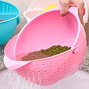 Wash rice and drain basket baskets of fruits and vegetables,Pink