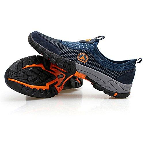 Traspiranti Esterna Estive Passeggio Uomo Sneakers Gracosy Esecuzione Scarpe Sportive Leggero Maglia Slip On Estivi Sport In Da Blu Mocassini wnHq7B