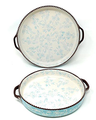 Temp-tations Set of 2 Pizza Deep Dish w/ Handles Tart Pan or Shallow Pie / Quiche 11 inch & 9 inch (Floral Lace Light Blue)