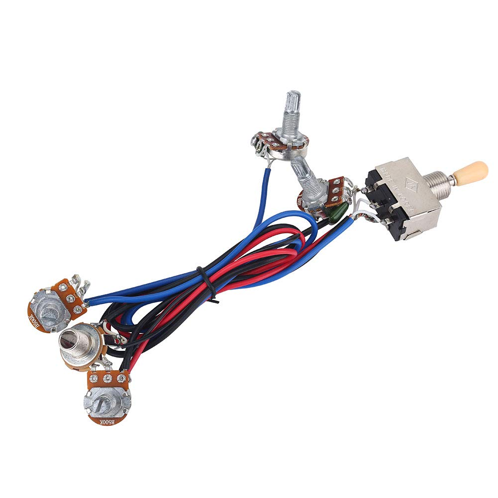instrument accessories alomejor electric guitar wiring harness kit 2t2v 3  way toggle switch 500k pots&jack guitar