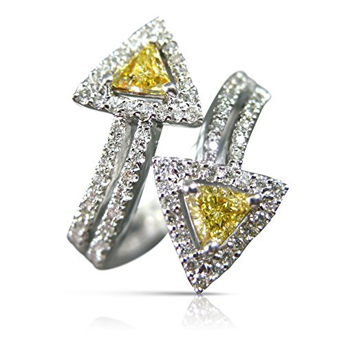Milano Jewelers 3.50C WHITE & FANCY YELLOW DIAMOND PLATINUM GOLD DOUBLE ARROW RING #21546