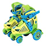 PlayWheels Teenage Mutant Ninja Turtles Kids Big Wheel Quad Roller Skates, Junior Size 6-9