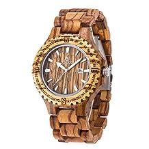Zebra Wood Watch,BIOSTON Natural Handmade Golden Luxury Design Quartz Wrist Watch,Men's Wooden Watches
