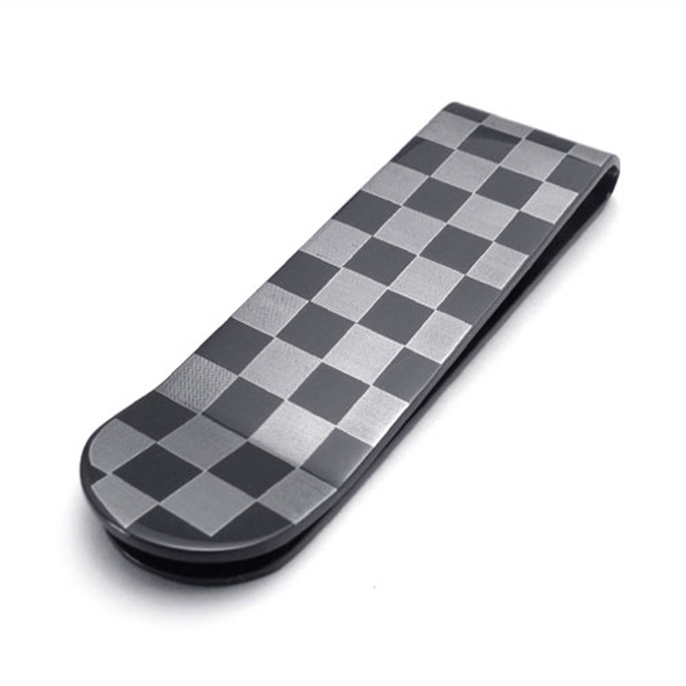 TEMEGO Mens 2-Tone Stainless Steel Checkered Money Clip,Black Grey