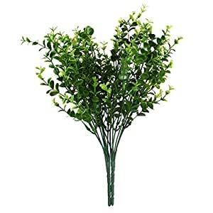 Amazon Com 2x Green Artificial Plastic Small Leaves Plant