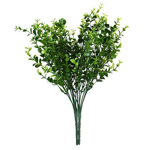 2x Green Artificial Plastic Small Leaves Plant 7 Branches Eucalyptus Grass For Home Wedding Decor