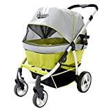 Dog stroller for large dogs up to 77 Ibs, Aluminum Frame, 4-wheel with suspension