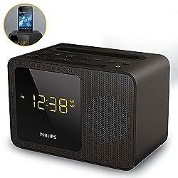 Philips Clock Radio AJT5300 Bluetooth Universal charging Dual alarm FM, Digital tuning iPhone/Android Speaker Dock Speakerphone Microphone …