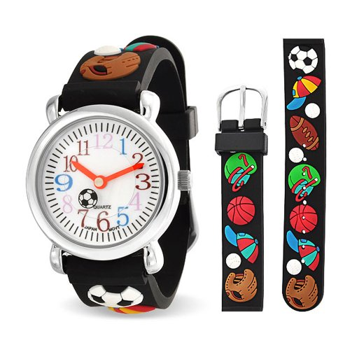 Bling Jewelry Black Analog Rubber Sports Kids Watch Stainless Steel Back by Bling Jewelry