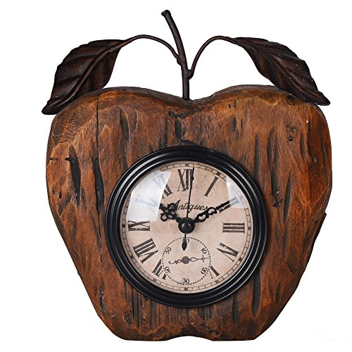 NIKKY HOME Antique Style Apple Shaped Resin Table Clock 6.12 x 2.25 x 7.25