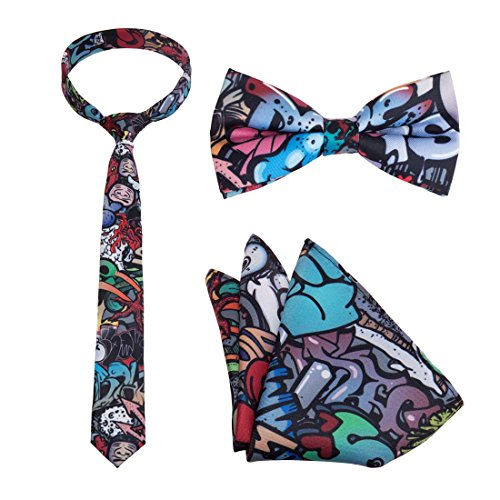 Bundle Monster Mens 3pc Multicolor Design Necktie Bow Tie Pocket Square Matching Fashion Accessories - Set 6: Media ()