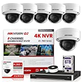 Hikvision IP Camera Kit DS-7608NI-Q2/8P 8CH 4K PoE NVR Bundle with 6 x DS-2CD2143G0-I 4MP 2.8mm Hikvision Dome IP Cameras Replacement Model for DS-2CD2142FWD-I Genuine English International (13 Items)