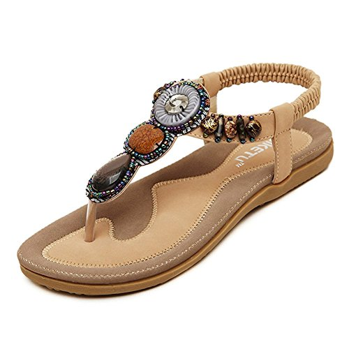 - Women's Summer Sandals Bohemian Beaded Ankle Walking Strap Size Casual Flip Flops Ladies Beach Sexy Flats Comfortable Shoes Apricot