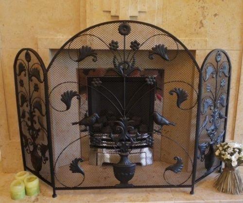 Black Antique Vintage Fireplace Fire Guard Surround Spark Mesh Nursery Screen D giftwarez