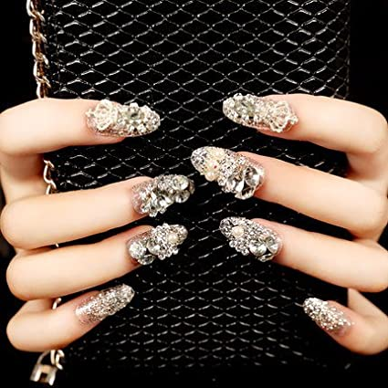 YUNAI Bling Bling Fake Nails For Wedding Long Full Cover false Nail Tips Wondermall