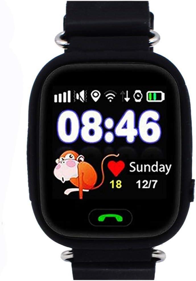 Niños Reloj Inteligente GPS Rastreador Localizador Anti-Lost Seguridad Niños Reloj de Pulsera SOS Llamadas SIM Podómetro Smartwatch Compatible con iPhone y Android Smartphone (Negro)