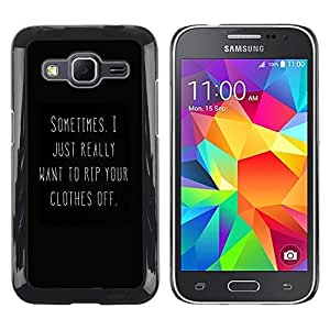 Amor Negro blanco atractivo You Text caliente- Metal de aluminio y de plástico duro Caja del teléfono - Negro - Samsung Galaxy Core Prime
