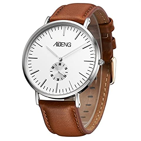 AIDENG Men's Wrist Watch Silver 40mm/1.58inches Stainless Steel Case with Brown Leather Strap (Mens Leather Watches Small)
