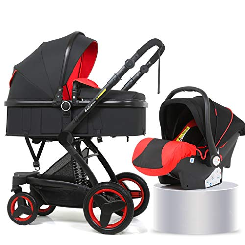XYSQ Lightwight Carriage 2-in-1, Foldable Light and Easy to Carry, Sitting and Lying Lightwight Pram, Suitable for Traveling Newborn Pushchair (Color : Red)