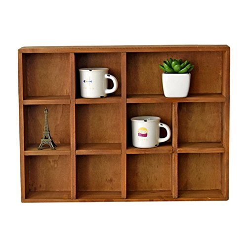 YUMU Wooden Shadow Box Decorative Floating Display Shelf with 11 Compartments - Wooden Collectible