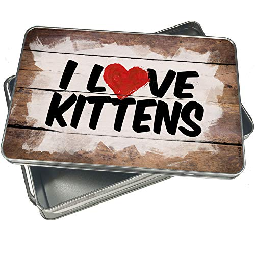 NEONBLOND Cookie Box I Love Kittens Christmas Metal Container