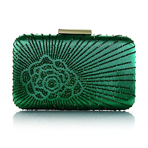 Emerald Green Bag - DMIX Womens Large Satin Silk Hard Clutch Evening Bag and Handbags with Crystal for Wedding Bridal Party Prom Dark Green