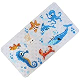 FEIDOL Baby Bath Mat with Suction Cups for Tub, Non Slip Kids Bathtub Mat, 28 x 15 Inch Cute Pattern Design, Mildew Resistant, Natural PVC (Sea)