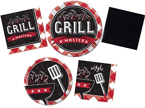 Backyard BBQ Party Supply Pack Summer Sizzle Grill Picnic Theme - Bundle Includes Paper Plates & Napkins for 32 Guests]()