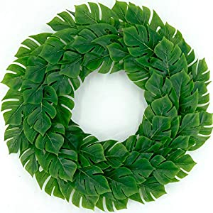 """idyllic 18"""" Green Wreath Artificial Monstera Plant Leaves Spring Summer Decoration Front Door Home Decor Housewarming Gift 5"""