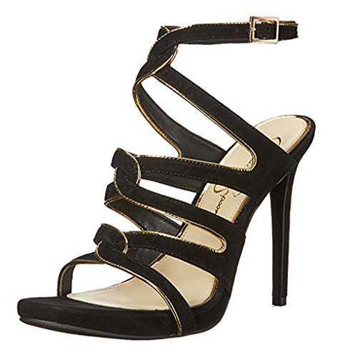 Jessica Simpson Women's Reyse Heeled Sandal, Black/Gold, 9 Medium - Gold Jessica