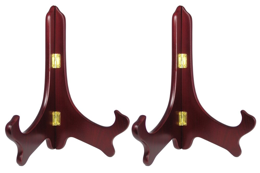 BANBERRY DESIGNS Wood Easel Plate Holder Folding Display Stands - Rich Dark Brown Mahogany - Premium Quality - Pack of 2 Pieces - 9 Inch by BANBERRY DESIGNS (Image #1)