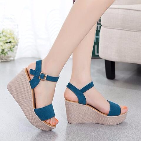 KHSKX-Wedges Sandals Waterproof Fish Mouth Thick Soled High-Heeled Sandals 9Cm Muffin Tide blue