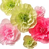 Paper Flower Decorations, Large Crepe Paper Flowers, Handcrafted Flowers, Giant Paper Flowers (Green, Pink, Set of 6 ) for Wedding Backdrop, Nursery Wall Decorations, Bridal Shower Decor, Baby Shower