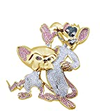 Multicolor Cubic Zirconia Pinky & The Brain Charm Hip Hop Pendant in 14K Yellow Gold Over Sterling Silver (12.10 Cttw)