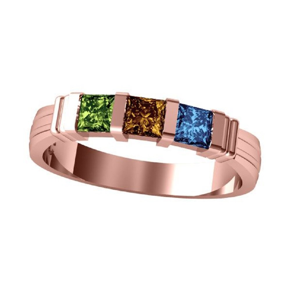 Yellow or Rose Gold Central Diamond Center 16-10135-P NANA Princess Mothers Ring with 1 to 6 Simulated Birthstones in Silver or 10k White